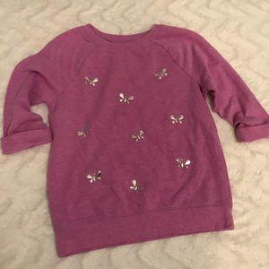 LIKE NEW: Purple & Silver Butterfly Sweatshirt